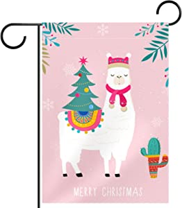 Christmas Alpaca and Cactus Pattern Seasonal Garden Flag Double Sided Spring Summer Yard Outdoor Decorative Holidays Flags Weather Resistant 28 X 40 Inch