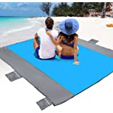 POPCHOSE Sandfree Beach Blanket, Large Sandproof Beach Mat for 4-7 Adults, Waterproof Pocket Picnic Blanket with 6 Stakes, Ou