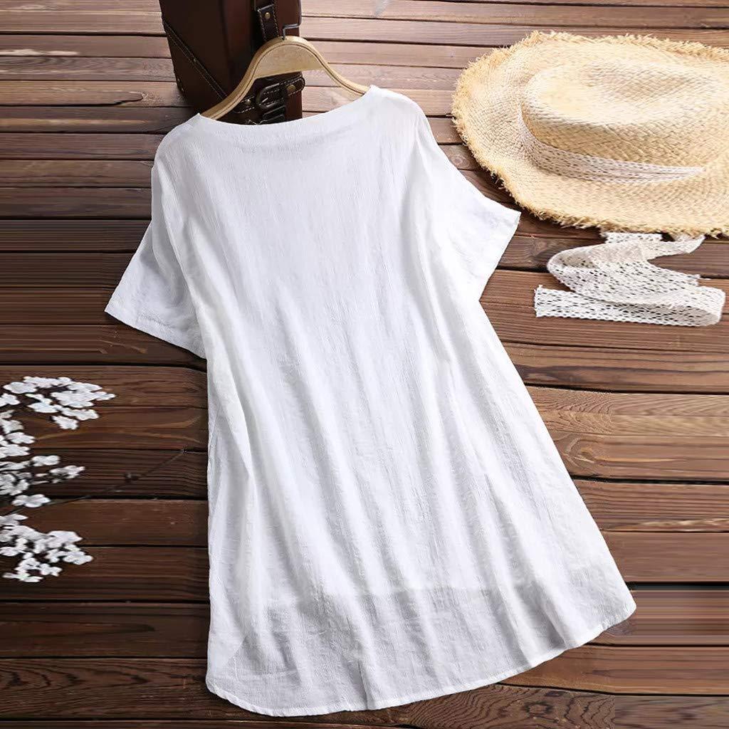 CUTUDE Chemisier Femme Manches Longues T-Shirts Casual /Ét/é Coton et Lin Bouton Grande Taille Tops Polo Gilet Tunic Chemise Tunique Fashion 2019