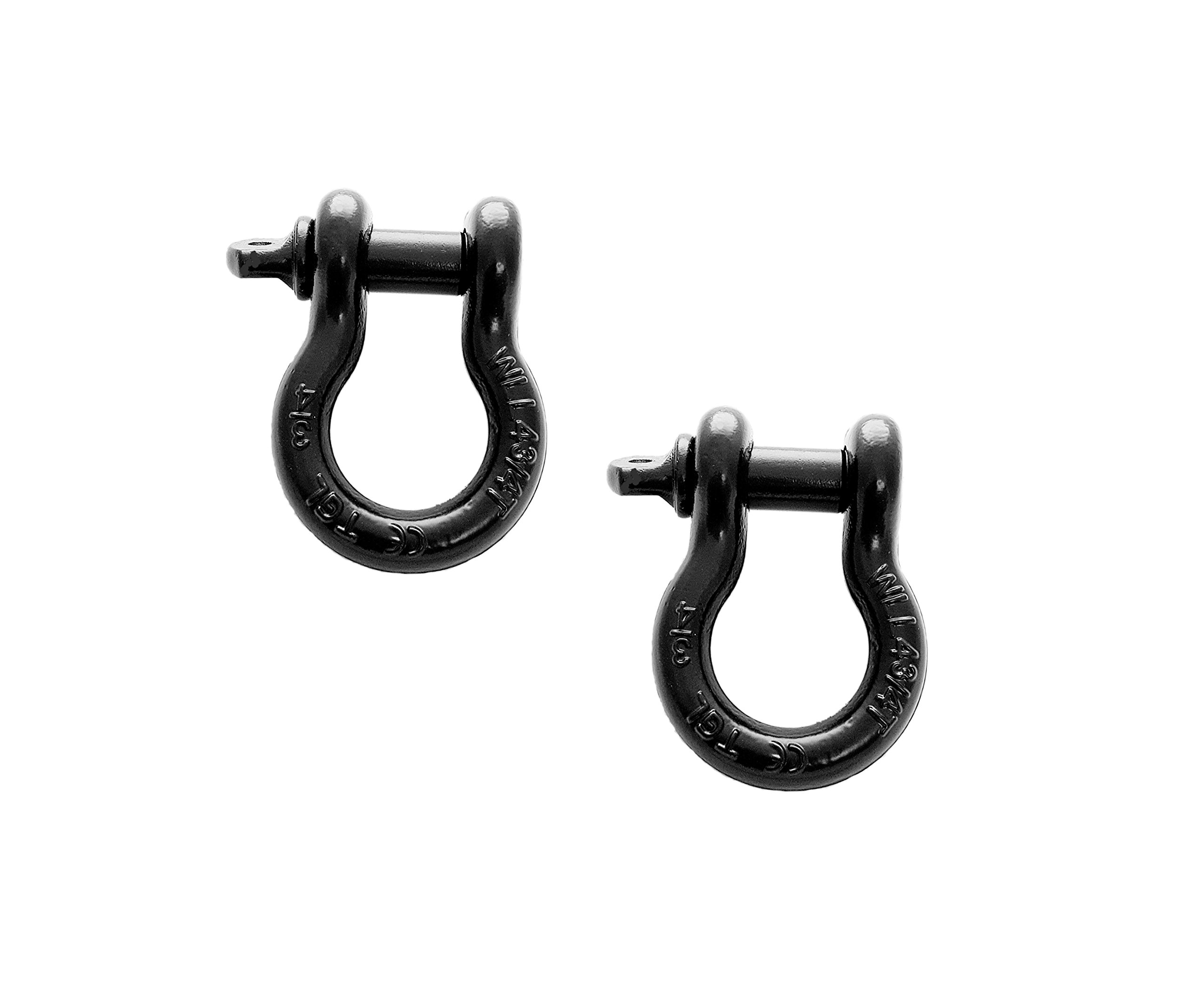 2-Pack of 3/4'' Black D-ring Shackle, 4 3/4 tons WLL