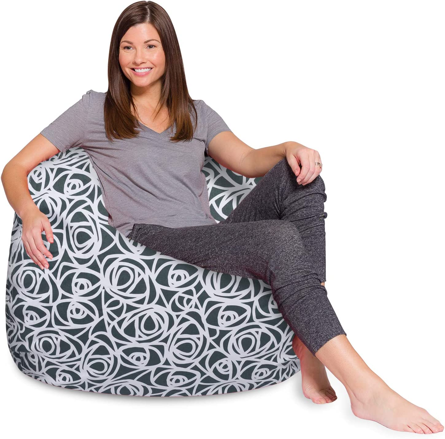 Posh Creations Bean Bag Chair for Kids, Teens, and Adults Includes Removable and Machine Washable Cover, 48in - X-Large, Canvas Roses Gray