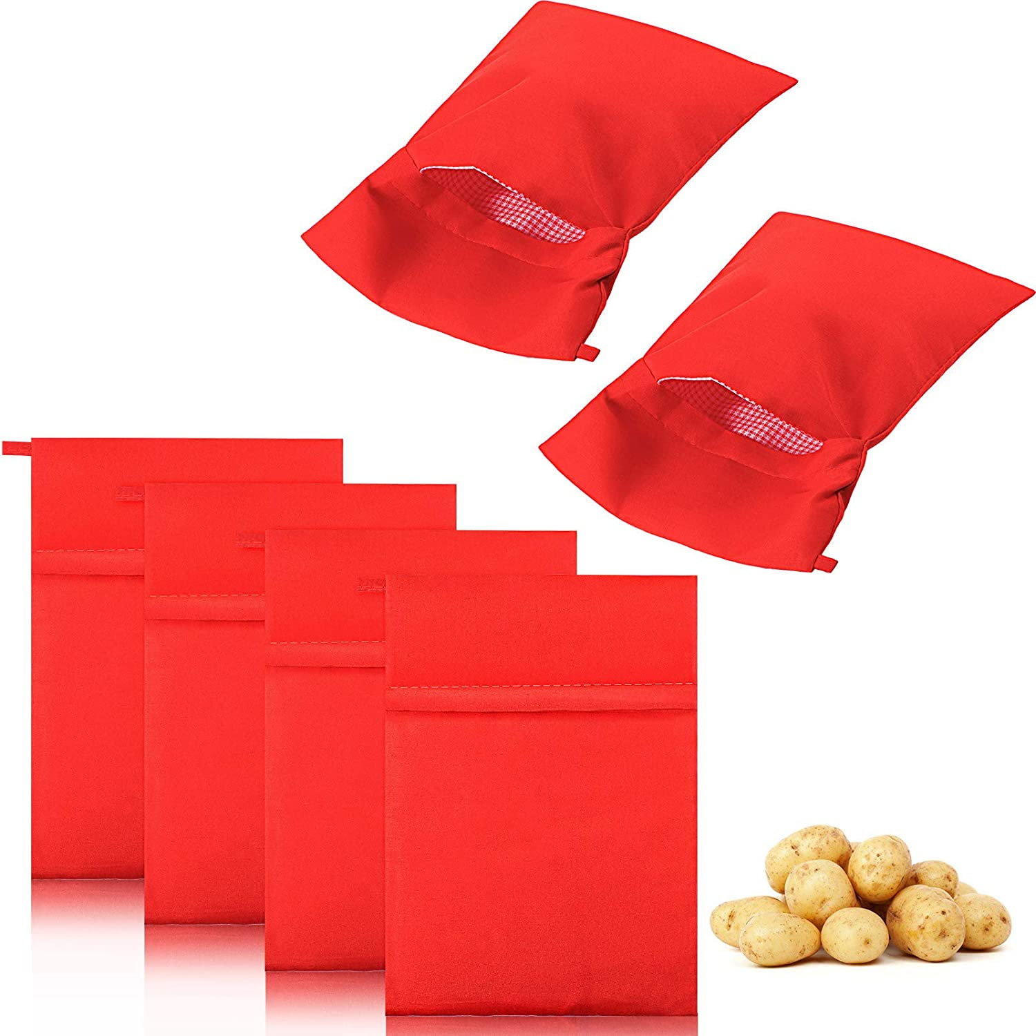 6 Pieces Microwave Potato Bag Reusable Baked Potato Pouch Time-saving Roasted Potato Cooker Bag for Potatoes Yam Corn