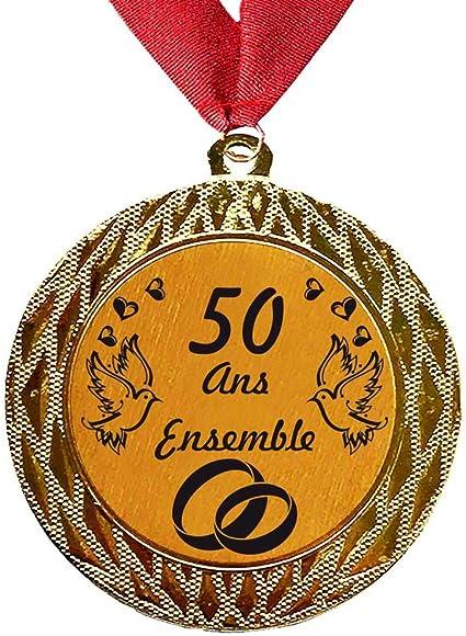 Larius Group Médaille Cadeau De Mariage 50 Ans Ensemble Ou Votre Texte Personnalisé Cadeau Pour événement Compétition Mariage Danniversaire De