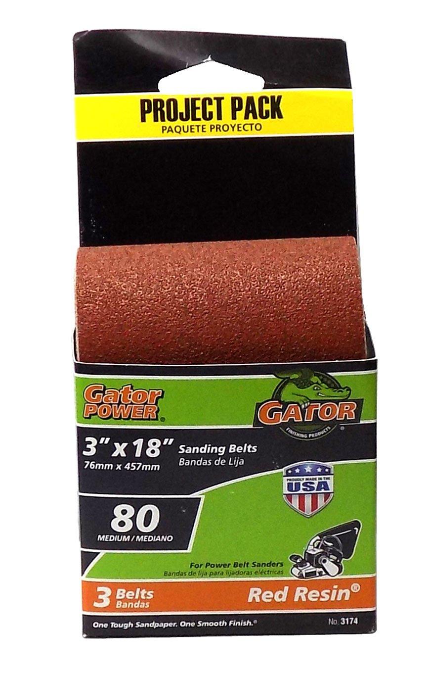 Gator 3-Pack 80-Grit 3-in W x 18-in L Sanding Belt Sandpaper Red Resin