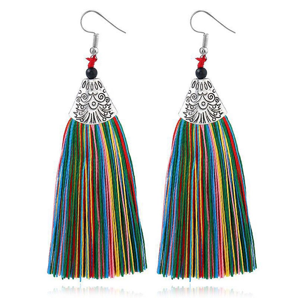 Twinsmall Womens Long Thread Tassel Christmas Drop Dangle Earrings for Girls Fringe Drop Earrings Ethnic Bohemian Earrings Set Twinsmall-SAD702
