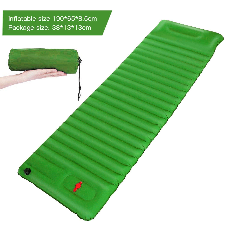 Esterilla Inflable Esterilla Camping Esterilla Hinchable Ligera Portátil Impermeable con Almohada para Viajes/Exterior/Senderismo/Playa190*65*8.5cm (azul) Eletam