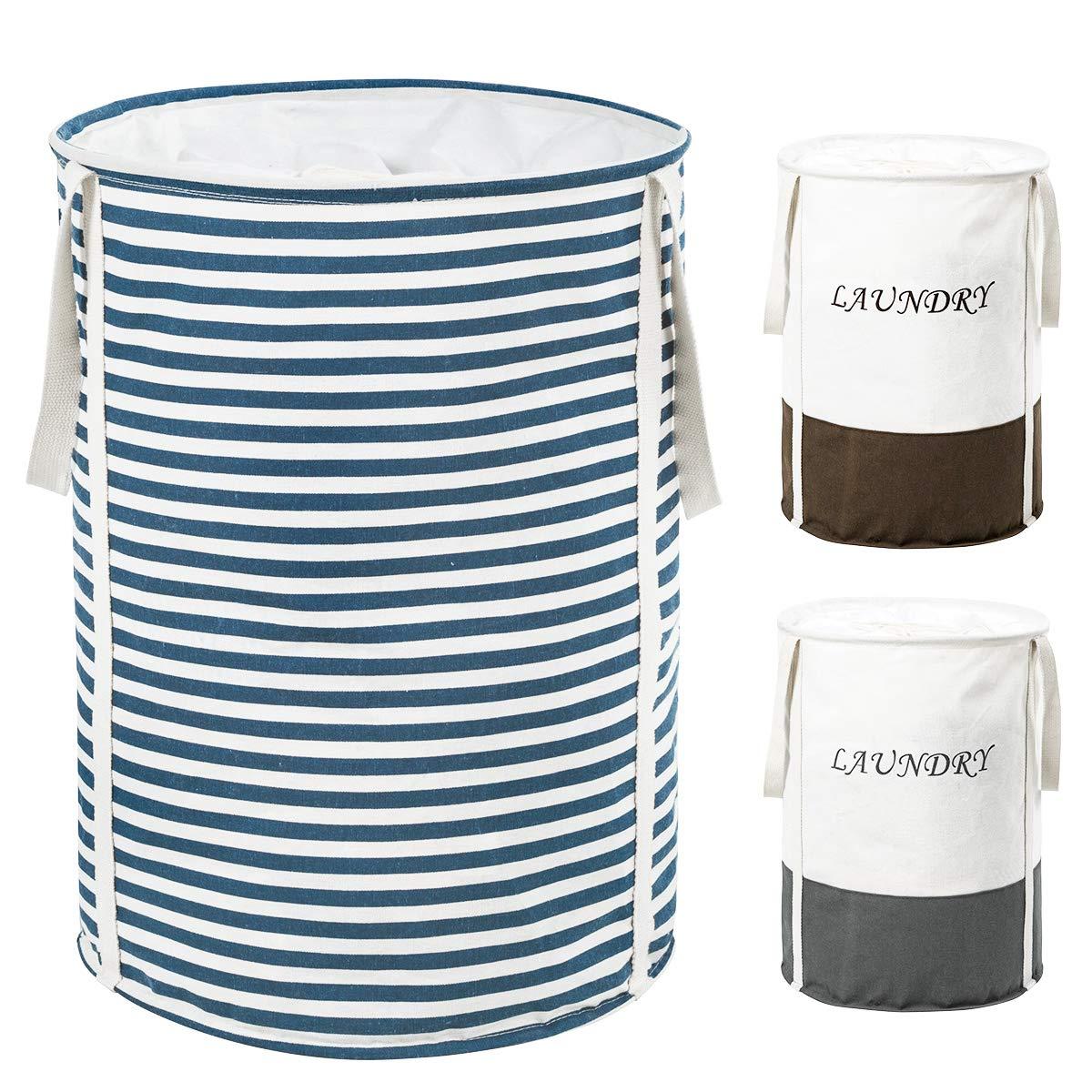 ZERO JET LAG 19 in Collapsible Laundry Hamper with Handles Drawstring Round Cotton Basket Kids Nursery Hamper Storage Blue Strips