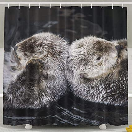 MropLtoa Cute Back To Otter Shower Curtain Repellent Fabric Mildew Resistant Machine Washable Bathroom Anti