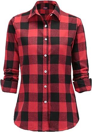 Dioufond Camisas Mujer Cuadros de Manga Larga Camisetas Mujer(Rojo M): Amazon.es: Ropa y accesorios