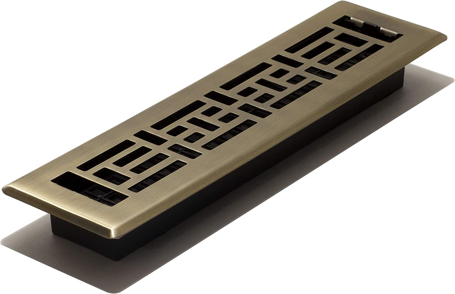 Decor Grates AJH212 2-inch by 12-inch Oriental Floor Register, Polished Brass Finish