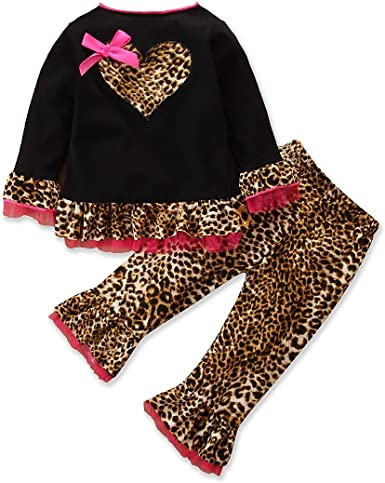 Toddler Kids Baby Girls Valentine/'s Day Heart Leopard Print Tops Pants Outfits