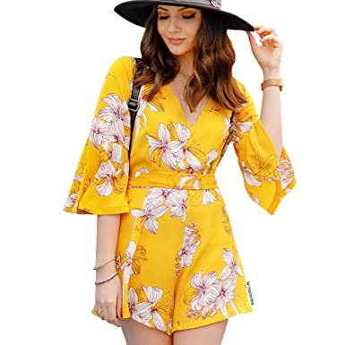 70472e576b Chicwish Women s Yellow Flower Floral Printed Flare Sleeves Wrapped Playsuit  Romper