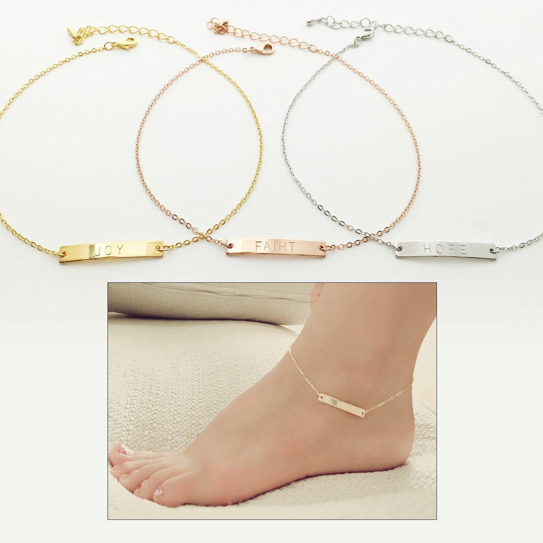 Personalized Name Bar Anklet Bracelet for Women Pendant Jewelry Bar Jewelry Body Jewelry Anklet Personalized Jewelry Gift for Her - 3A