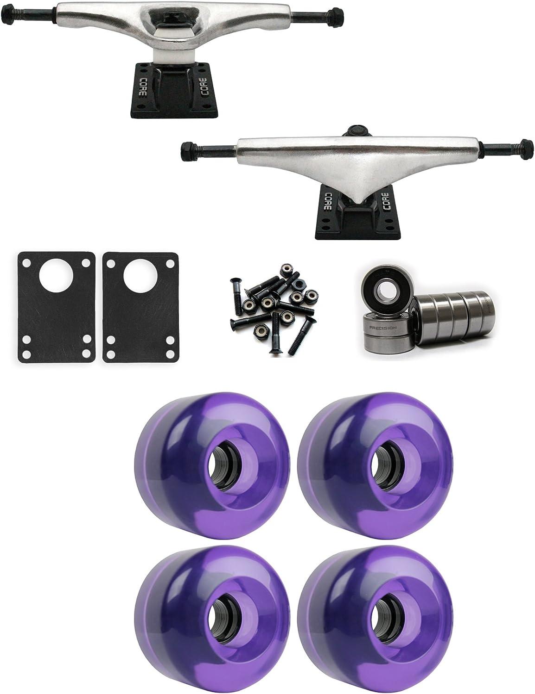TGM Skateboards Core 7.0 Longboard Trucks Wheels Package 70mm x 46mm 83A 2602C Purple Clear
