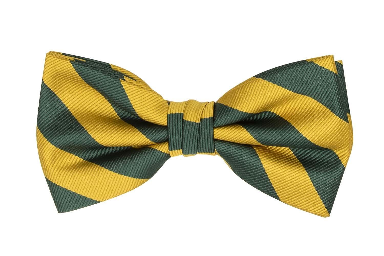 Jacob Alexander Stripe Woven Men's College Striped Pretied Bowtie - Gold Black JCSBT006