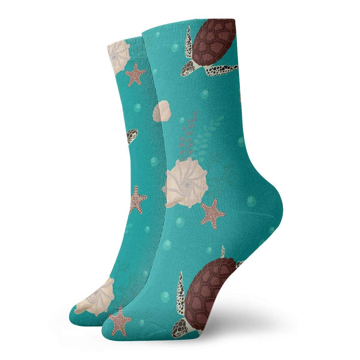 Turtles And Seashells Fashion Dress Socks Short Socks Leisure Travel 11.8 Inch