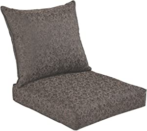 Bossima Indoor/Outdoor Black/Gold Damask Deep Seat Chair Cushion Set,Spring/Summer Seasonal Replacement Cushions.
