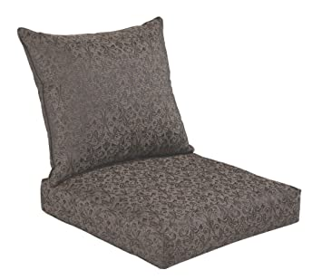Bossima Indoor/Outdoor Black/Gold Damask Deep Seat Chair Cushion Set,Spring/ Part 95
