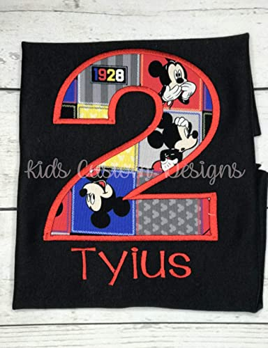 Amazon Mickey Mouse Birthday Shirt Or Onesie Ages 1 6