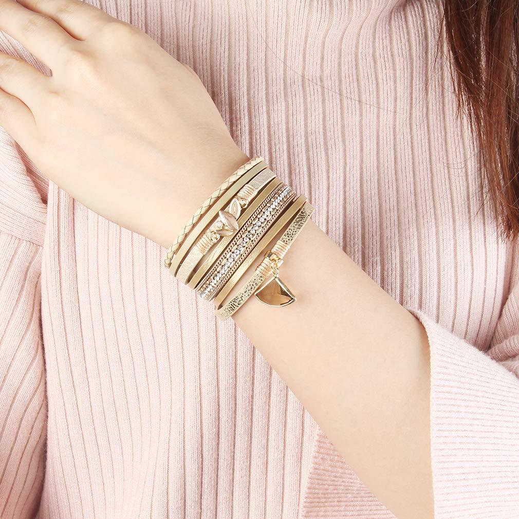 ca355bbbaf6173 JOYMIAO Femmes Bracelet en Cuir Charme Manchette Wrap Bangle Maple Leaf  Pendentif Bracelets Faits à la Main Les Filles