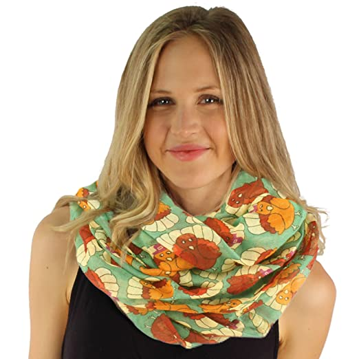 3797e0b9f9f19 Image Unavailable. Image not available for. Color: Cute Autumn Fall Pilgrim  Turkey Thanksgiving Holiday Wide Loop Infinity Scarf