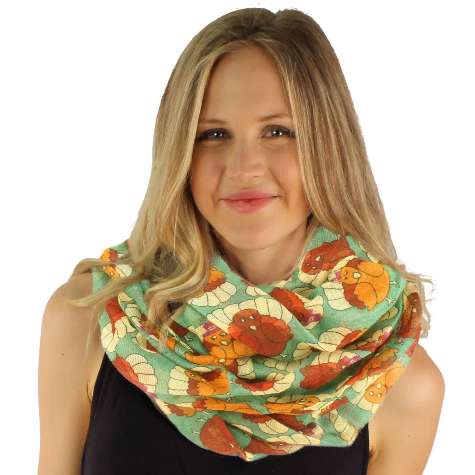 Cute Autumn Fall Pilgrim Turkey Thanksgiving Holiday Wide Loop Infinity Scarf