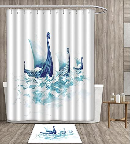 Viking Shower Curtain Customize Portrait Of Drakkars In Nordic Sea Rough Wood Ships Scandinavian