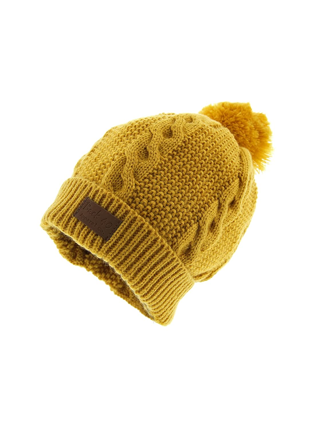 e557fe0999dc9 Cable Pom Pom Cuffed Beanie Unisex - Yellow Thick and Warm Knit Winter Hat  Skull Cap by Back 40 at Amazon Men s Clothing store