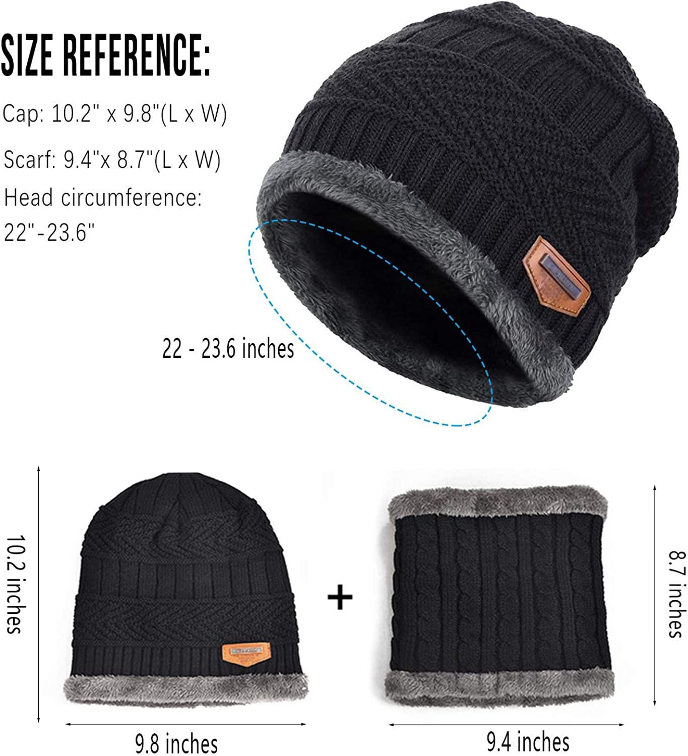 Warm Pieces Winter Hats Scarf Gs for Women Men Thick Cotton Winter Accessories Female Male Beanie Scarf@Black