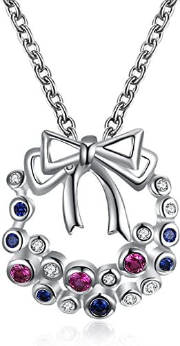 AMDXD Jewelry Silver Plated Pendant Necklaces Women Silver Flowers Design Necklace