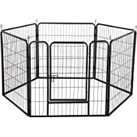 """32"""" 80x80CM 8 Panel Pet Playpen Portable Exercise Cage Fence Indoor/Outdoor Foldable Metal Fitness Pen Dog Puppy Rabbit…"""