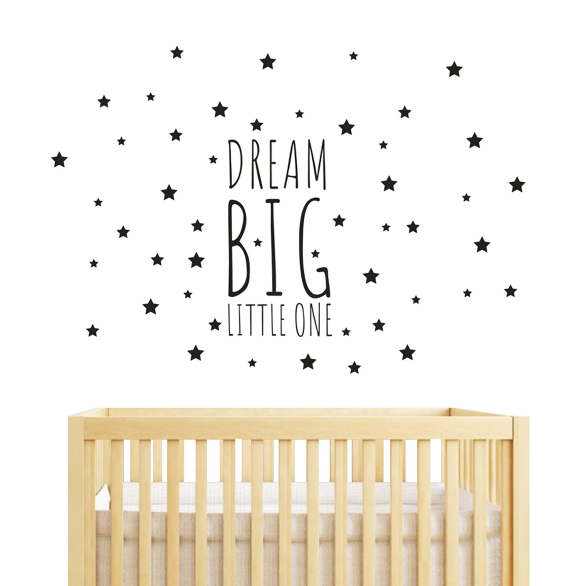 JOYRESIDE Dream Big Little One Night Sleep Wall Decal Vinyl Sticker Stars Decor Nursery Kids Babys Room Home Bedroom Quote Decoration YMX14 (Black, Big)