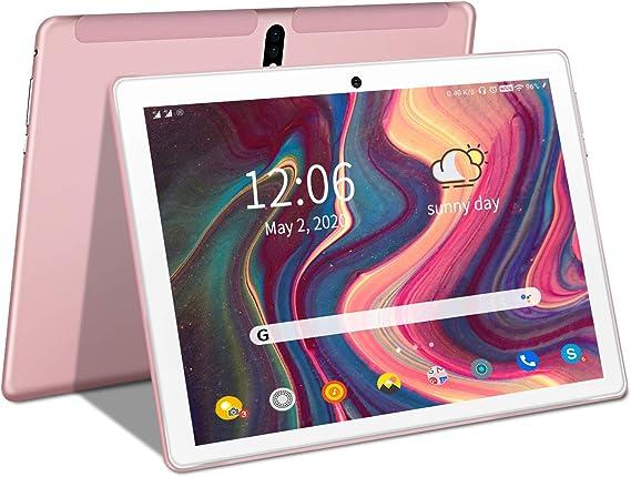Amazon.com: Tablet de 10 pulgadas, pantalla táctil HD 2 en 1 Tablet con teclado Caso Ordenador Quad-Core 1.3Ghz Procesador 4G+64GB Disco duro Android 9.0 GO Tabletas, Soporte 3G Llamada de teléfono, Type-C, BT4.2 GPS FM 4G WiFi- (Rosa): Computers & Accessories