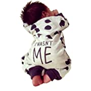 Newborn Baby Boy Girl Warm Long Sleeve Dots Romper Bodysuit Jumpsuit Outfits Clothes(0-6 Months) Gray