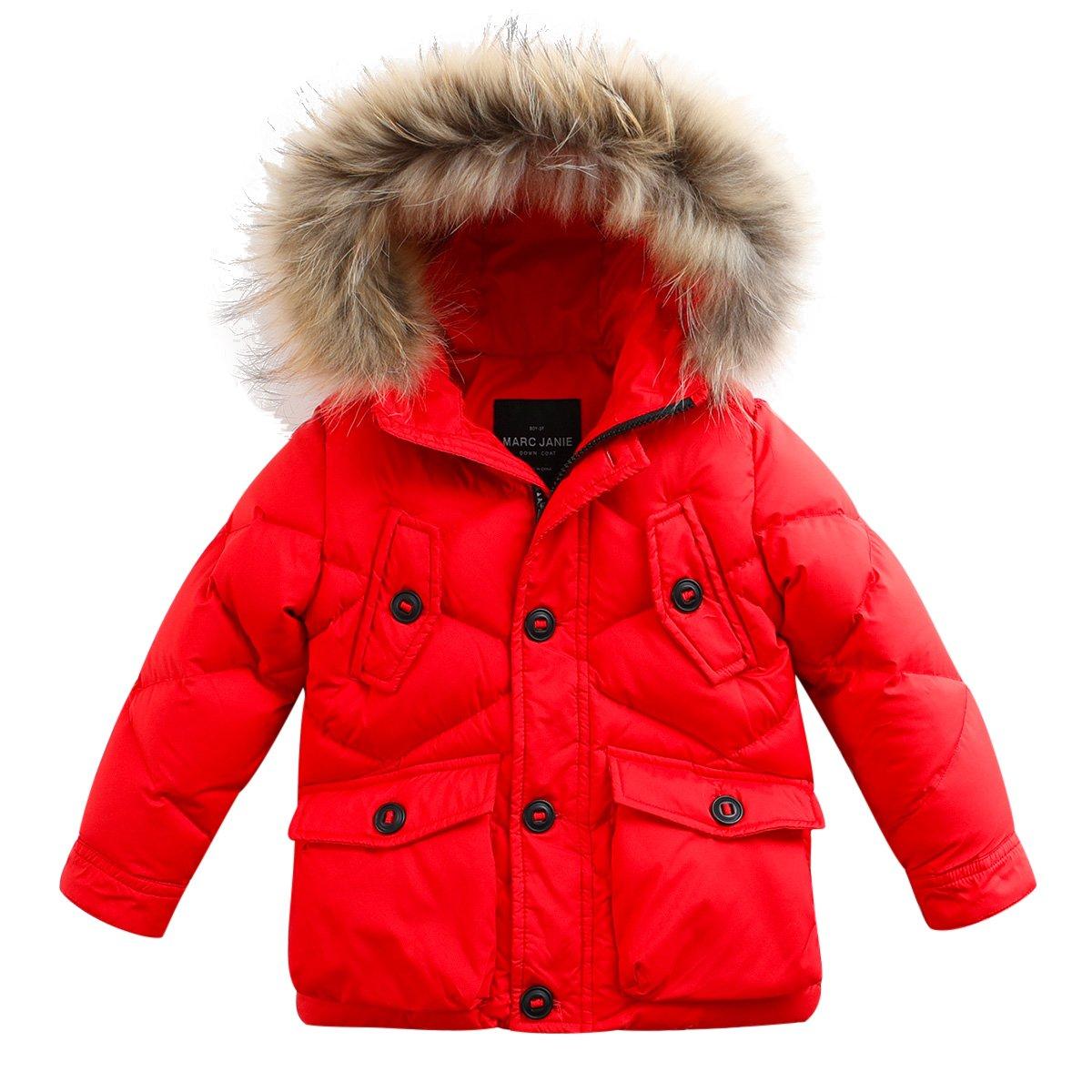 marc janie Baby Boys Kids' Lightweight Down Jacket With Raccoon Fur Collar Hood Puffer Winter Coat Reddish Orange 8T