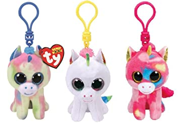 2a81afa615d Image Unavailable. Image not available for. Colour  TY Beanie Boos Unicorns  Backpack Or Keychain Clip Set Blitz ...