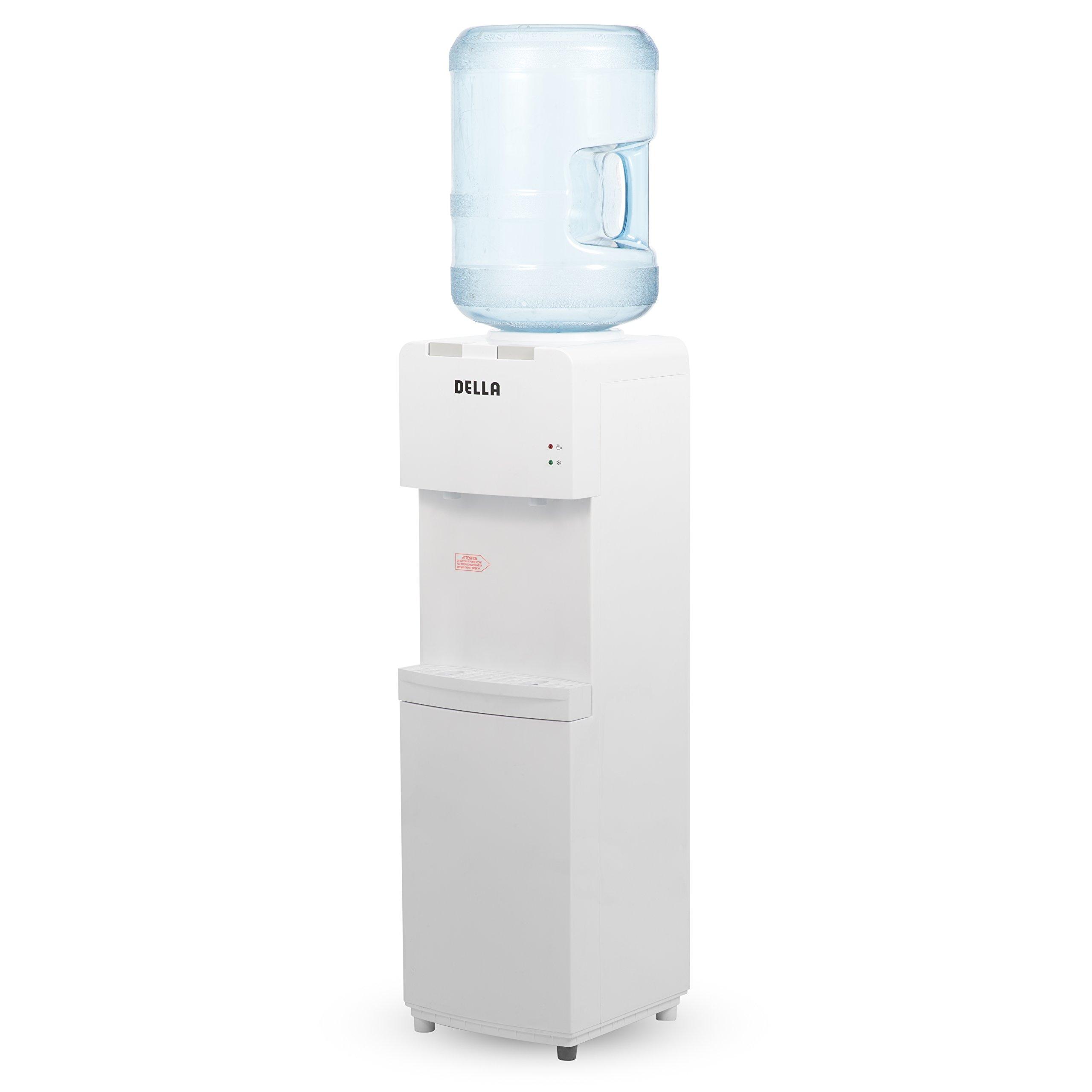 Della Freestanding Water Dispenser Water Cooler Hot Cold Temperature Push Button Child Safety Lock, White