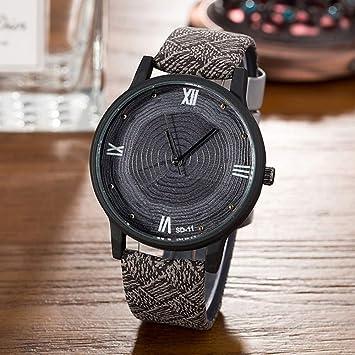 Zxzays Nuevas Mujeres de Madera Relojes Retro Casual Reloj de Cuarzo de Cuero de la Vendimia Moda Mujer Simple Cara Reloj de Madera Negro, Gris: Amazon.es: ...