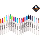 Sharpie Permanent Markers, Fine Point, The Original, Assorted Colors, Set of 21)