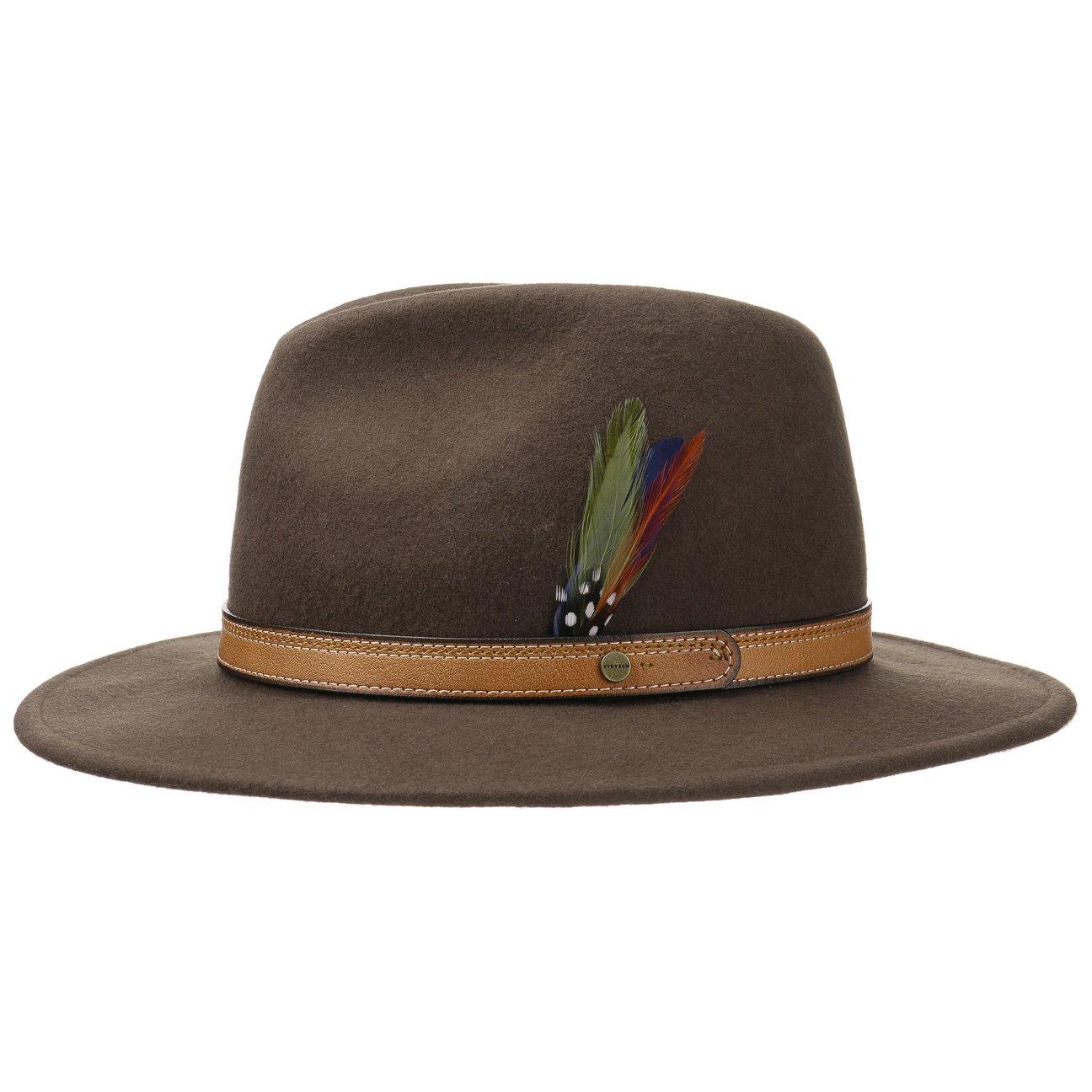 718c8eb70f4 Stetson Atla Wool Felt Traveller Hat Traveller Felt hat (XXL 62-63 -  Brown)  Amazon.co.uk  Clothing