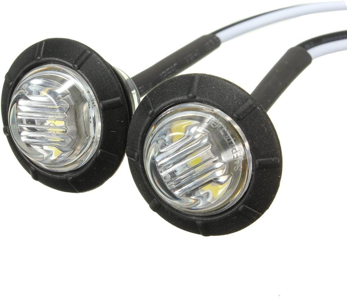 Excellent Pack of 8 DC12V 3LED Red Round Side Marker LED Lights Indicator Lamps White