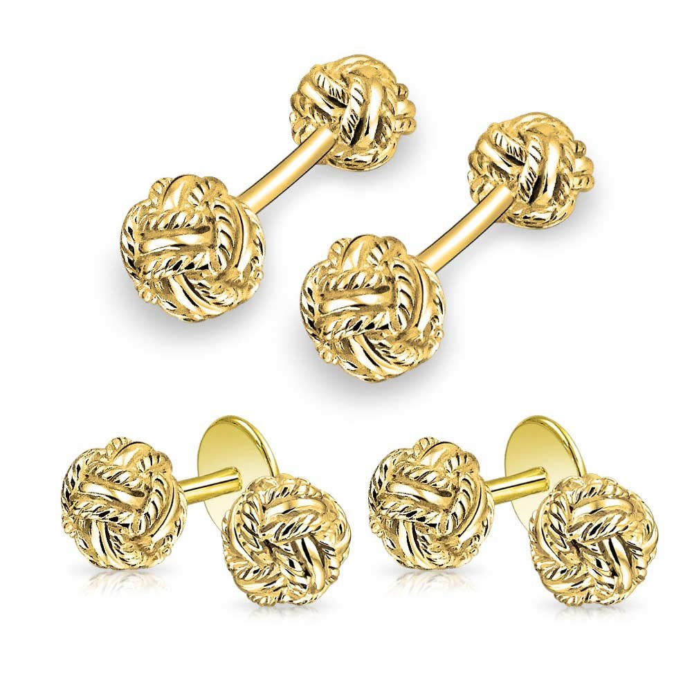 Solid Double Knot Braided Twist Cuff Links Stud Sets For Tuxedo Shirts Men 14K Gold Plated Sterling Silver Fixed Backing