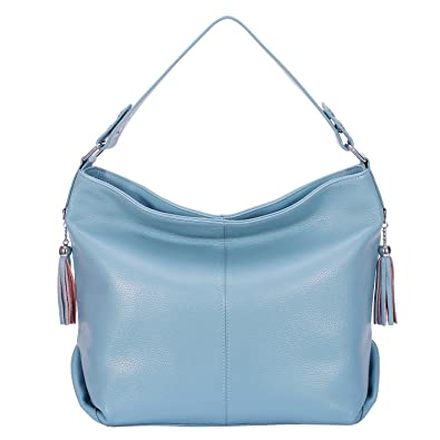 9d6a4faf76 Amazon.com  BIG SALE-AINIMOER Womens Leather Vintage Shoulder Bag Ladies  Handbags Large Tote Top-handle Purse Cross Body Bags (Gray Blue)  Shoes