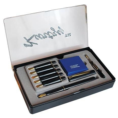 Set 14 Piezas Pluma Estilográfica Escribir Caligrafía con 6 Plumillas y Cartuchos por Kurtzy - Kit