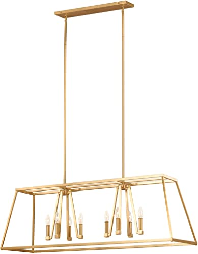 Feiss F3152 8GSB Conant Candle Island Chandelier Lighting, Brass, 8-Light 48 L x 16 H 480watts