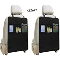 Lebogner Kick Mat Auto Seat Back Protectors + 3 Organizer Pockets, 2 Pack Waterproof Fabric Seat Cover For The Back Of…