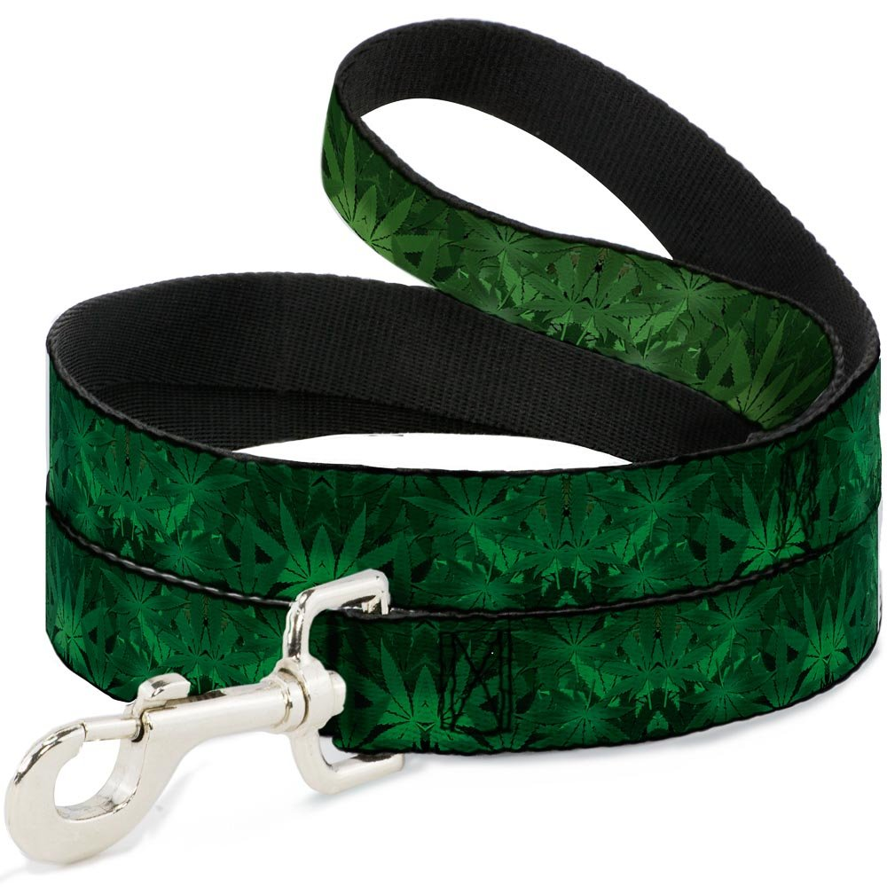Buckle-Down DL-W31358-N Narrow 0.5  Marijuana Leaves Dog Leash, 4'