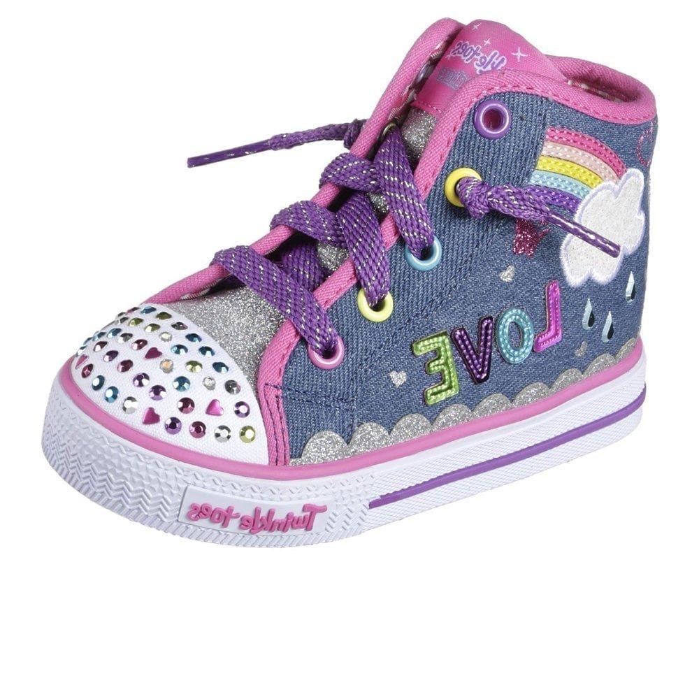 Skechers 10874N Toddlers Twinkle Toes: Shuffles - Sparkle Skies Shoes, Denim Multi - 7