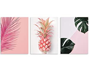 "TutuBeer Plant Wall Art with Pink Pineapple at Pink Background Tropical Wall Decor Green Plant Art 12"" x 16"" x 3 Pieces Canvas Pictures Prints Artwork Ready to Hang for Home Decoration Wall Decor"