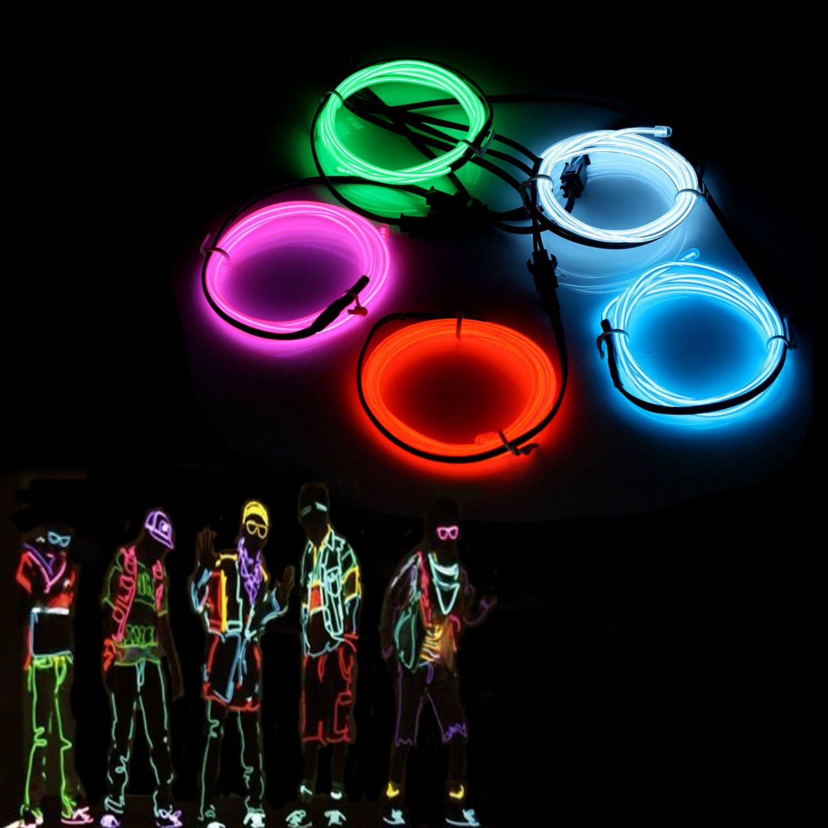 EL Wire,SOLMORE 5M Neon Lights Glowing Strobing Super Bright Battery ...